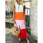 Casual Four-Color Gradient V-Neck Sleeveless Dress