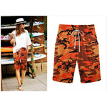 Lace Up Elastic Waistband Camoulage Loose Shorts