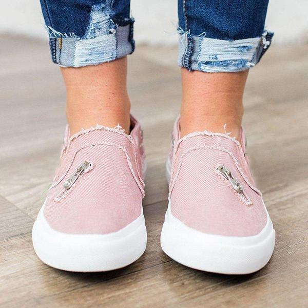 Casual Solid Color Zipper Decoration Canvas Loafers - MagCloset