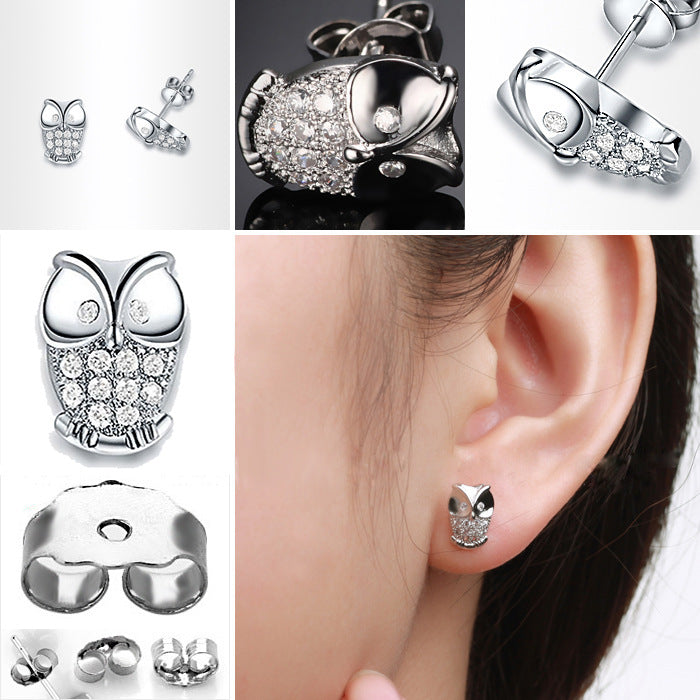 Antiallergic Silver Plated Owl Earrings Studs