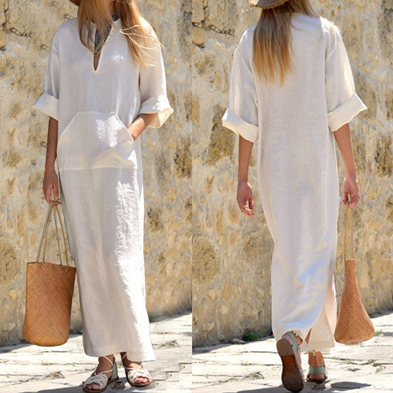 Women Long Sleeves Side Split Maxi Dress