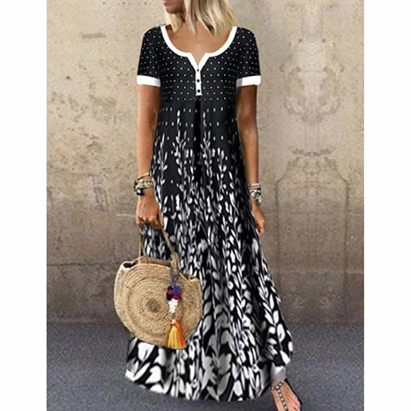 Printed V-Neck Short Sleeves Dress