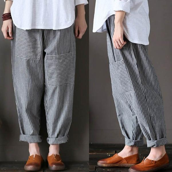 Casual Stripe Pants Long Pants Leisure Trousers Plus Size