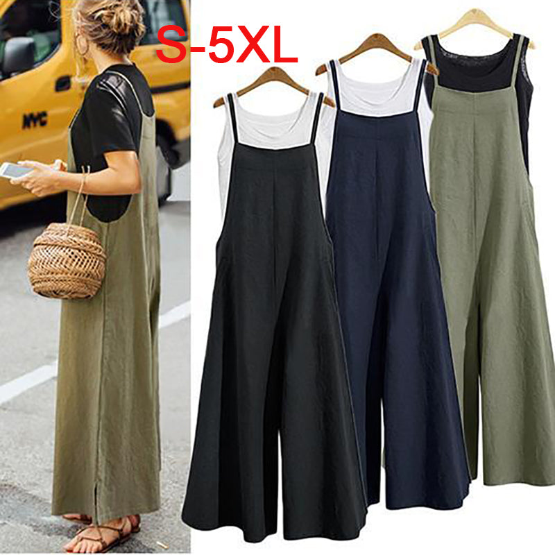 Casual Loose Solid Tank Jumpsuits