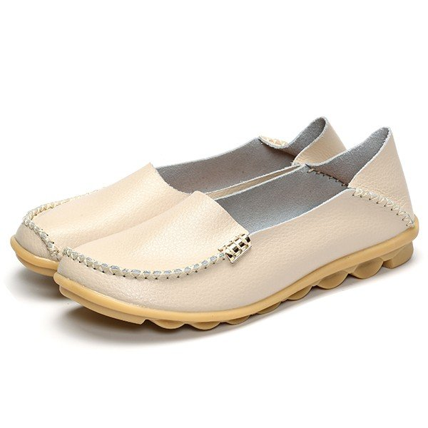 Big Size Soft Leather Pure Color Metal Slip On Comfortable Lazy Loafers - MagCloset