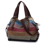 Women Casual Stripe Canvas Contrast Color Multi-pocket Handbag Shoulder Bag
