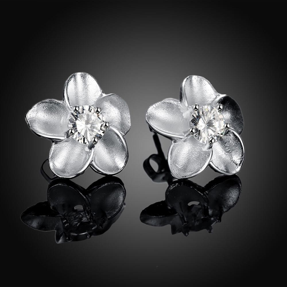 Rose Ear Studs Silver Plated Earrings