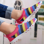 CLEARANCE-Rainbow Colorful Stripe Mesh For Women Breathable Slip On Flat Sport Shoes