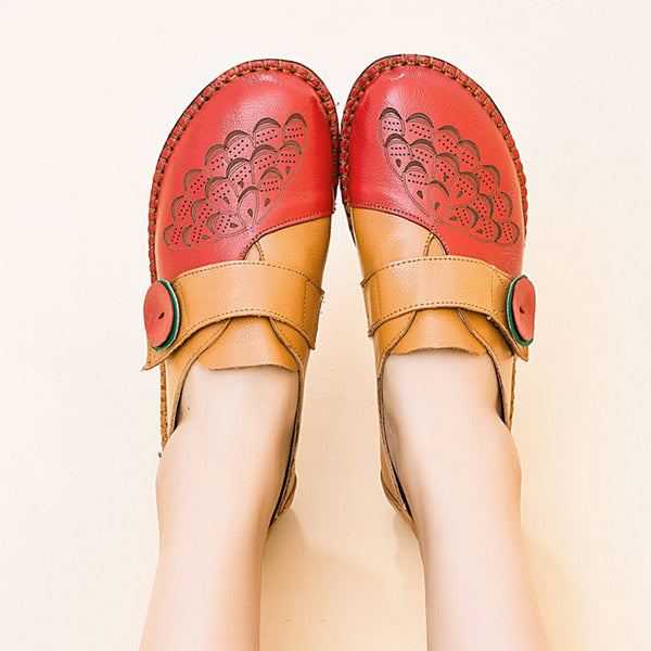 Women Comfy Round Toe Pattern Hook Loop Genuine Leather Flats