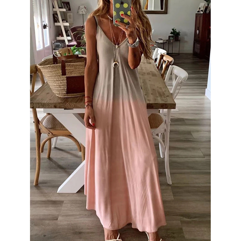 Gradient Color V Neck Sleeveless Cotton Dress