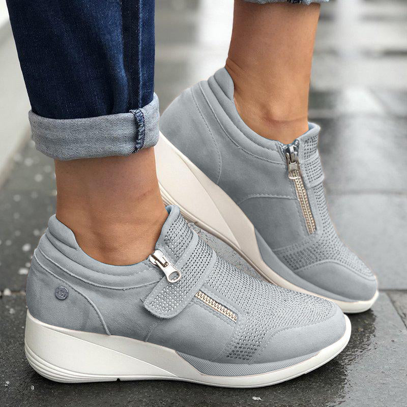 Women Zipper Hook Loop Wedge Sneakers