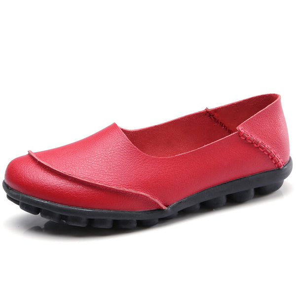 Large Size Cow Leather Soft Flats