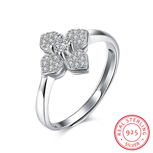 Four Leaf Clover Cubic Zircon 925 Sterling Silver Adjustable Ring - MagCloset