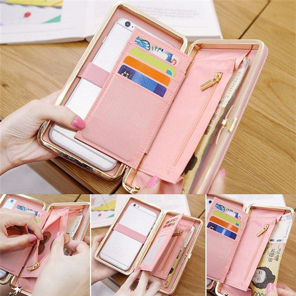Universal 5.5 inch Butterfly Knot Functional Phone PU Wallet Case Cover for iPhone Xiaomi Samsung