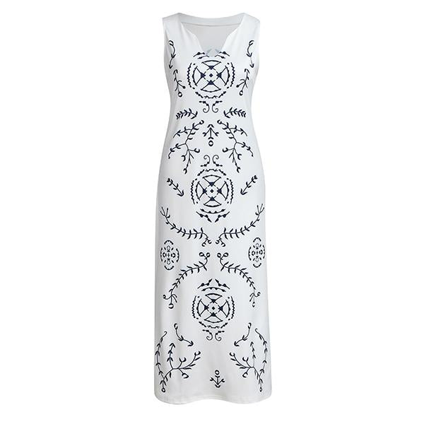 Fashion Summer V-Neck Printed Dresses