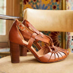 Vintage Round Toe High Heel Sandals