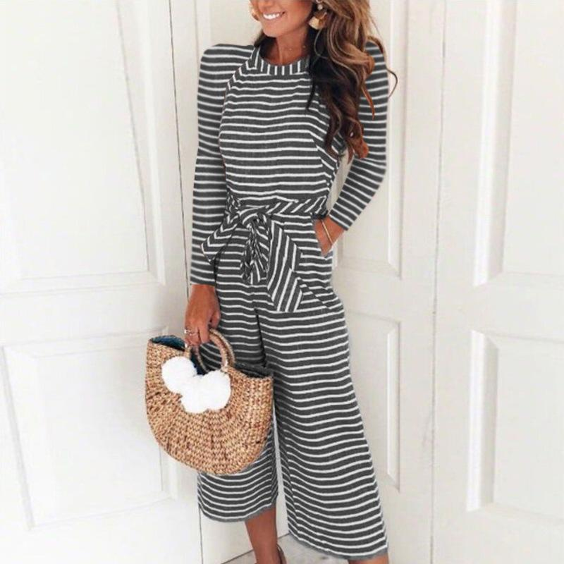 Women Casual Fashion Long Sleeve Striped Jumpsuits