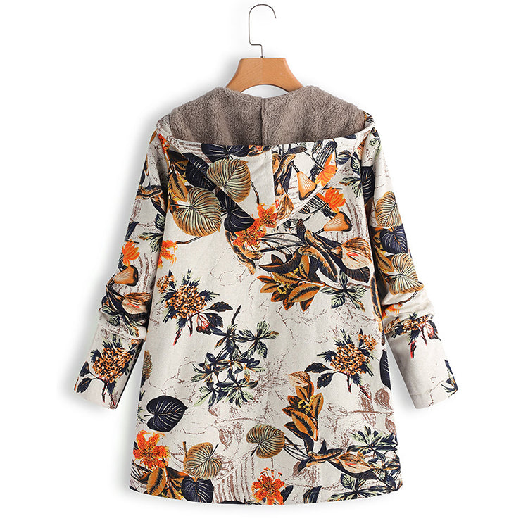 Leaves Floral Print Hooded Long Sleeve Vintage Coats