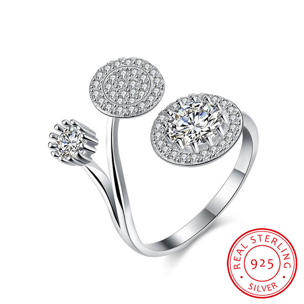 Round Cubic Zircon 925 Sterling Silver Adjustable Ring