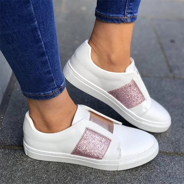 Casual Flat Round Toe Sneakers Slip-on Shoes