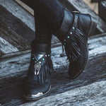 Faux Leather Rivet Chunky Heel Boots