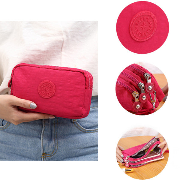 Women Nylon Multi-Pocket Phone Clutch Daily Capacity Wallet Coin Card Key Holder Purse