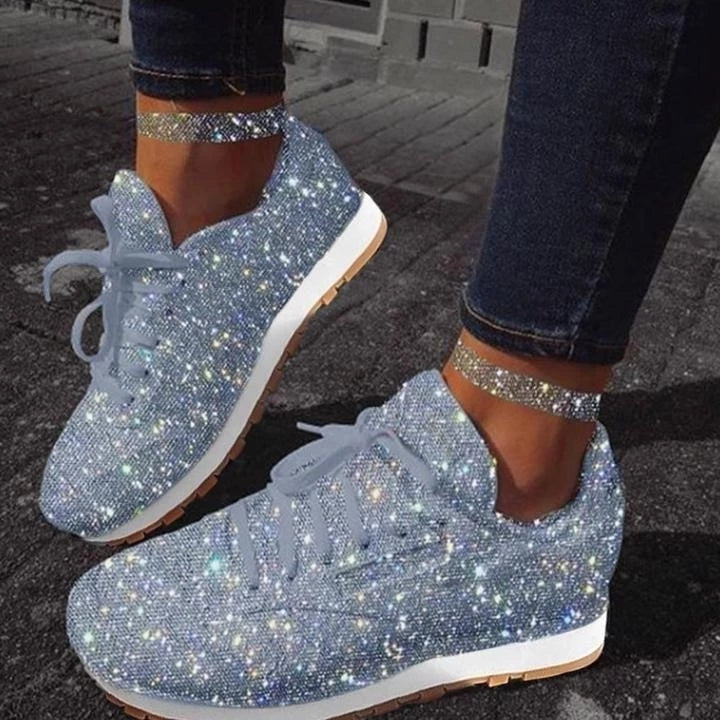 Women Sparkle Lace-up Sneakers Shoes