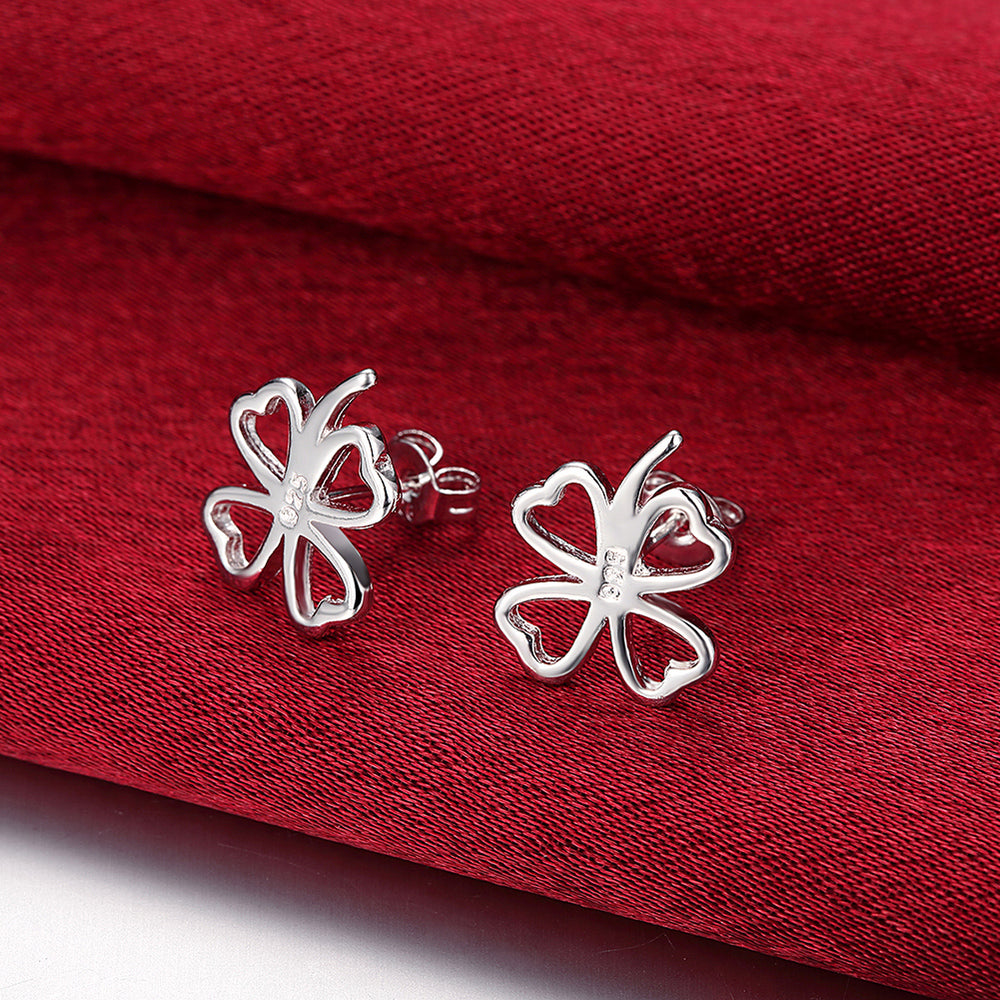 Four Clover Ear Studs Silver Plated Earrings - MagCloset