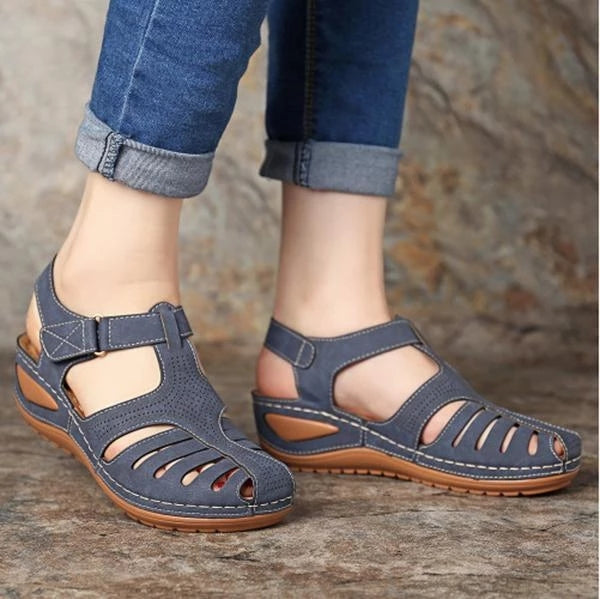 Vintage Hollow Out Pure Color Breathable Wedges Sandals