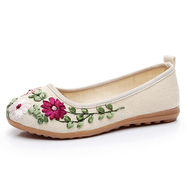 Vintage Embroidered Flower Slip On Cotton Linen Comfy Flat Shoes