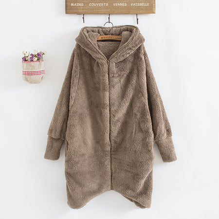 Plush Zipper Cardigan Fur Coat