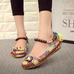 Bead Chain Knitting Bowknot Retro National Wind Lace Up Flat Shoes For Women