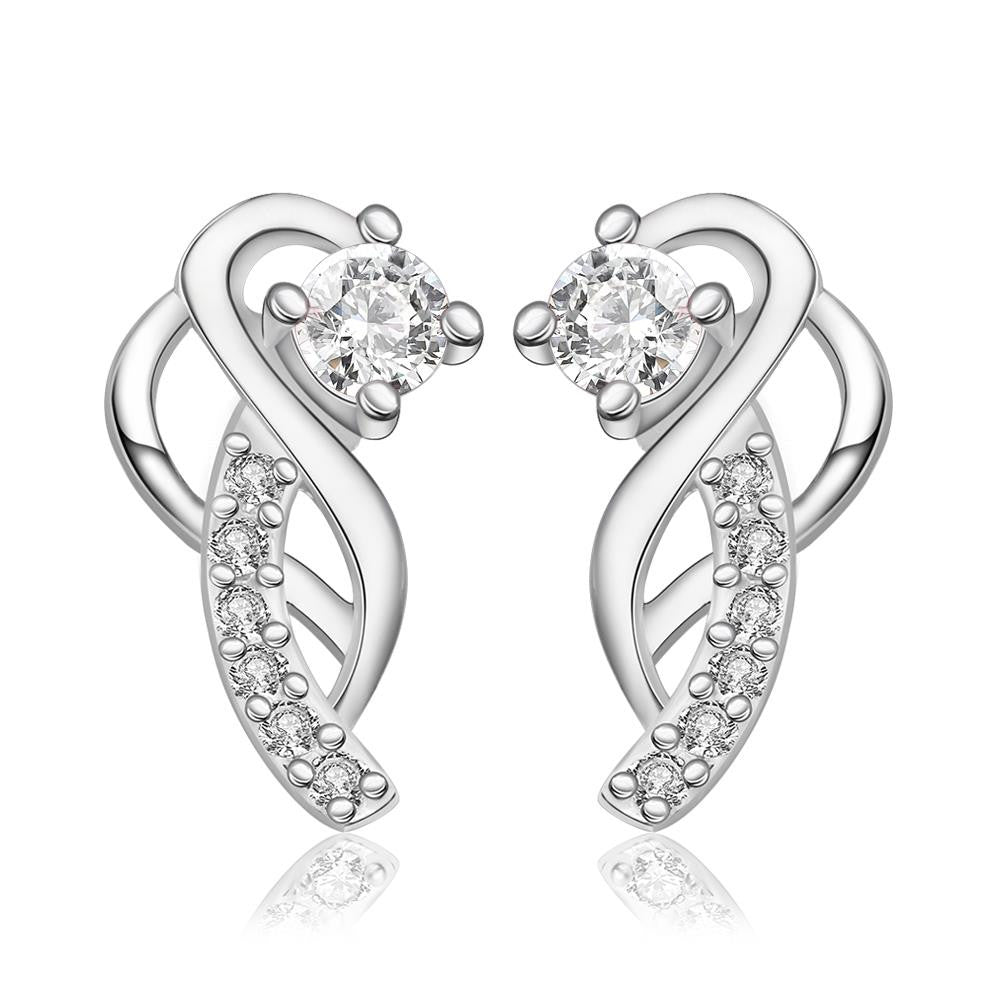 925 Silver Plated Ear Studs with Cubic Zirconia Shiny Earrings - MagCloset