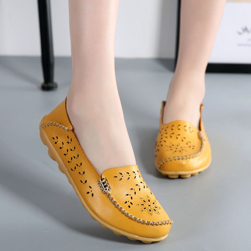 Breathable Hollow Out Flat Slip On Soft Leather Shoes
