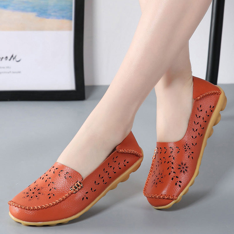 Breathable Hollow Out Flat Slip On Soft Leather Shoes - MagCloset