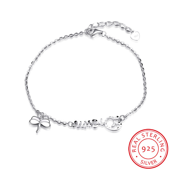 """Dream"" Letter and Dragonfly 925 Sterling Silver Chain Bracelet - MagCloset"