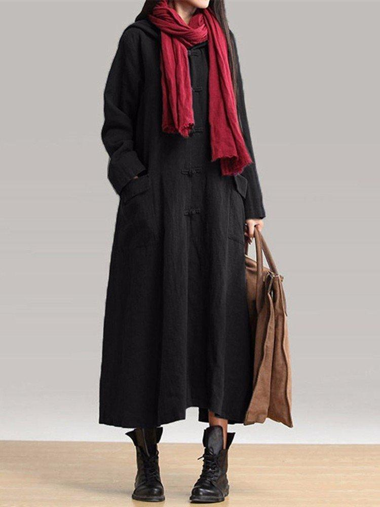 Vintage Long Sleeve Hooded Maxi Coat Dresses