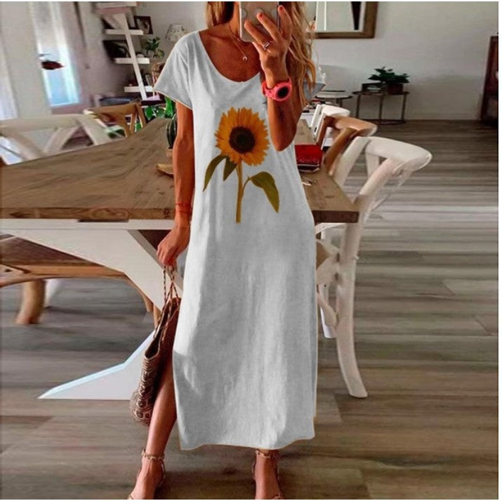 Sunflower Floral-Print Side Slit Dress