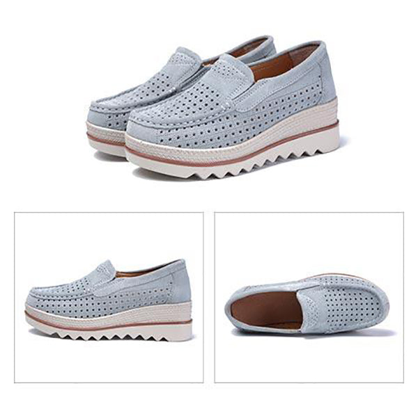 Summer Platform Slip On Genuine Leather Rocker Bottom Shoes
