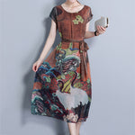 Vintage Short Sleeve Round Neck Printed Dresses