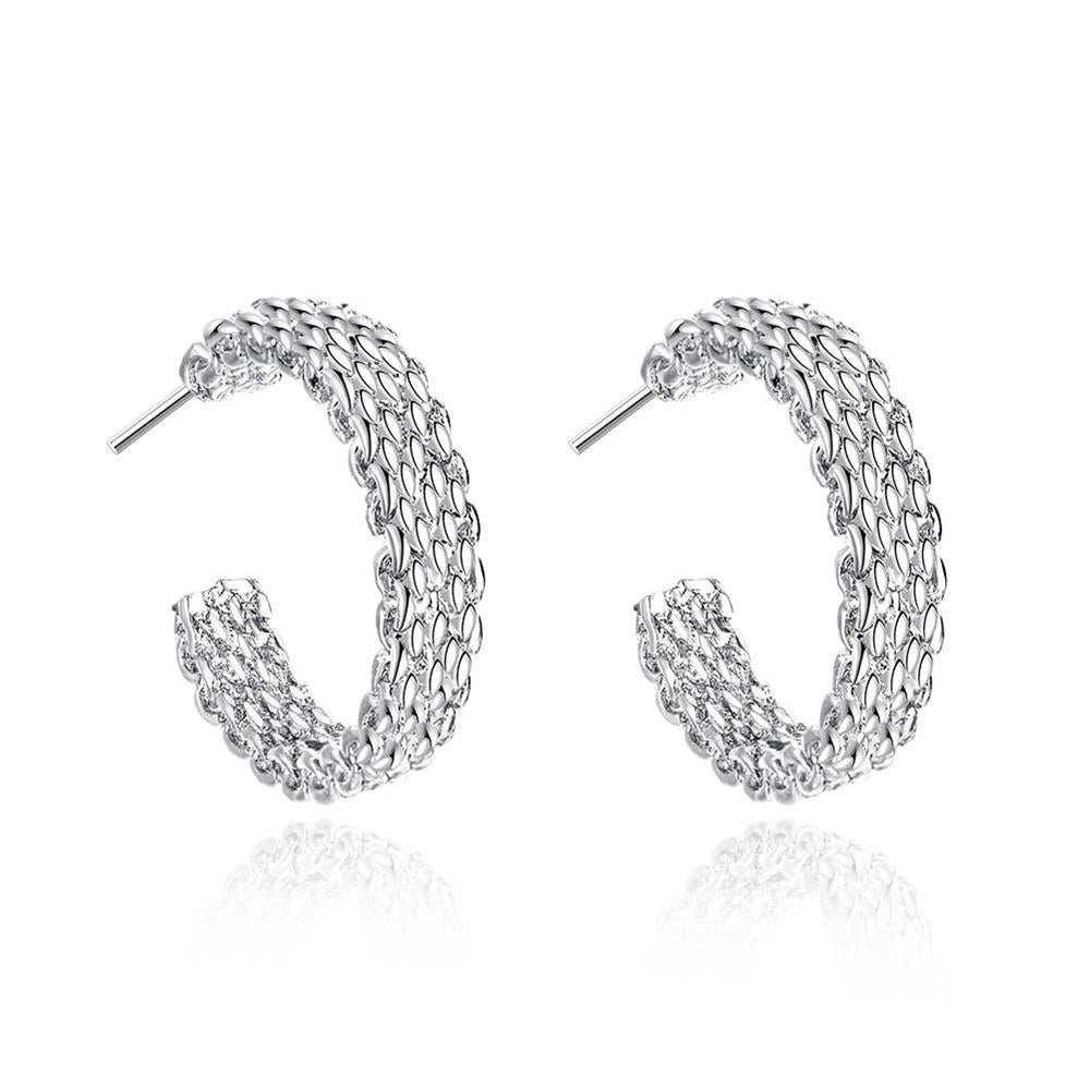 Mesh Pattern Round Ear Studs Silver Plated Earrings