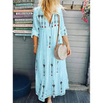 V-Neck Long Sleeved Women's Printed Dress