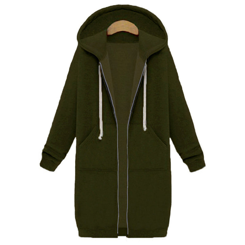 Pure Color Zipper Mid-Long Hooded Coat