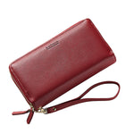 3 Zipper Pockets PU Leather Clutch Bag Phone Wallet for Women - MagCloset