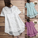 Women Vintage Floral Embroidery Patchwork Irregular Blouses
