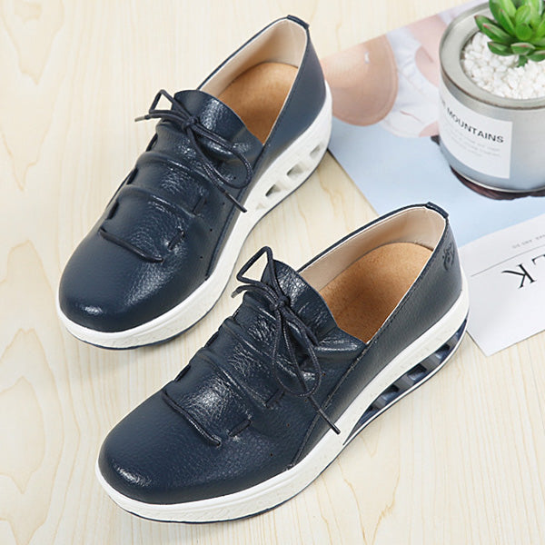 PU Leather Platform Lace Up Casual Sport Rocker Bottom Shoes