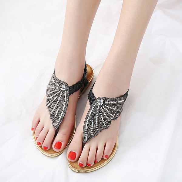 Rhinestone Butterfly Wedge Sandals