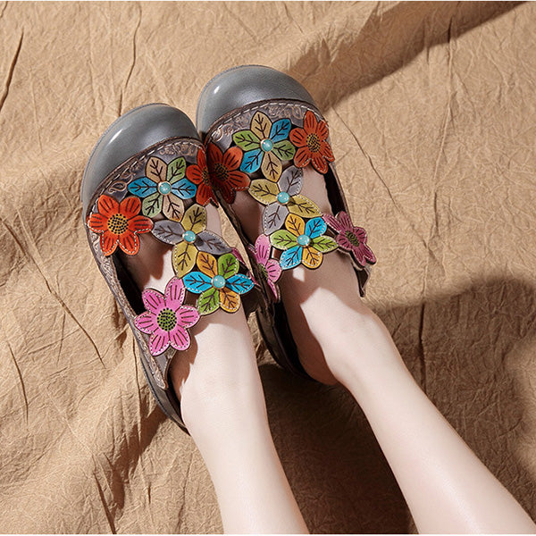 Ethnic Style Retro Flower Hollow-Out Sandals Slippers - MagCloset