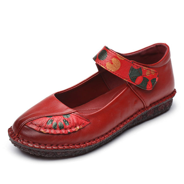 Retro Ethnic Style Flower Hook Loop Flat Shoes