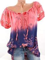 Women Floral Printed V-neck Short Sleeve Shirts